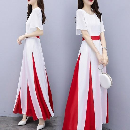 Elegant Style Dignified Short Sleeve Long Maxi Dress-White image