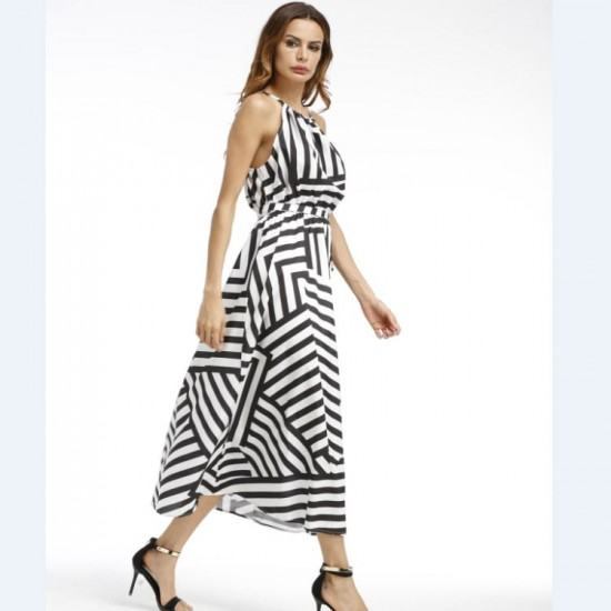 Black And White Striped Halter Chiffon Maxi Dress-Black image