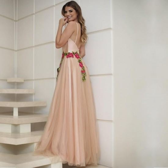 Patchwork Lace Strap Embroidery Maxi Dress-Pink image