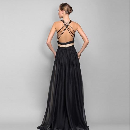Classic Style Deep V Neck Chiffon Evening Gown-Black image