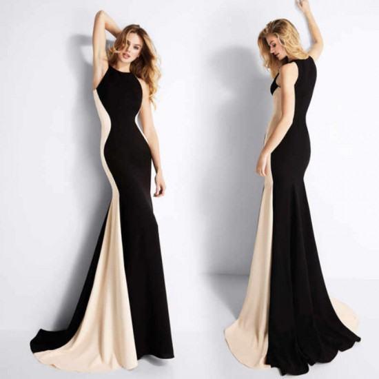 Sleeveless Mermaid Evening Gown Maxi Dress-Black image