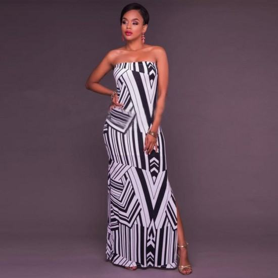 Casual Boho Off Shoulder Striped Party Dress-Black image