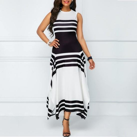 Asymmetric Printed Contrast Irregular Long Maxi Dress-Black image