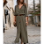 Modern Summer Fashion Front Buttons Side Slit Casual Dress-Grey