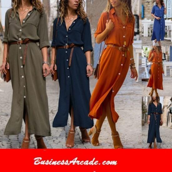 Modern Summer Fashion Front Buttons Side Slit Casual Dress-Blue image