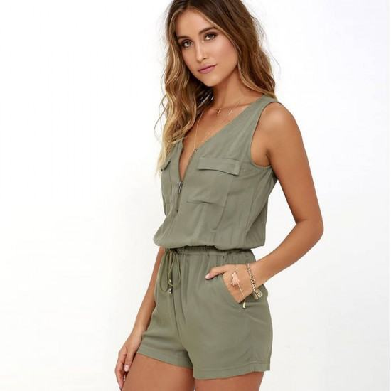 Casual Sleeveless Lace-up Short Jumpsuit-Green image
