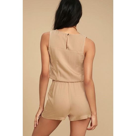 Casual Sleeveless Lace-up Short Jumpsuit-Brown image