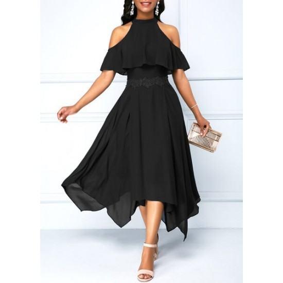 Latest Style Slim & Fit with Hanging Neck Irregular Dress-Black image