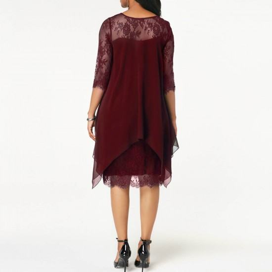 Lace Stitching Irregular Knee-Length Chiffon Dress-Red image