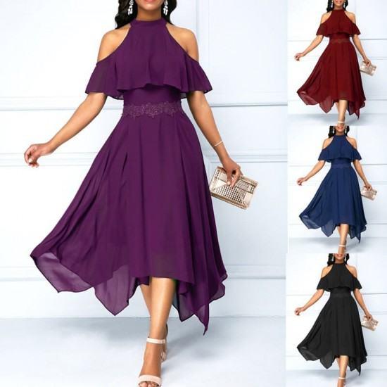 Latest Style Slim & Fit with Hanging Neck Irregular Dress-Purple image