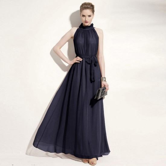 Bohemian Hanging Neck Sleeveless Cotton Long Dress-Black image