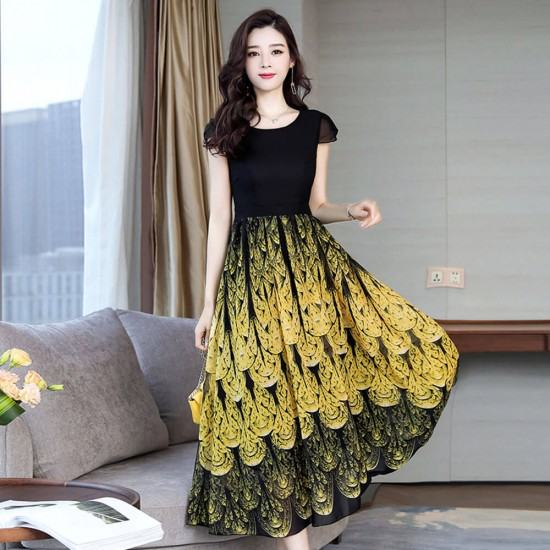 Waves Printed High Waist with Long Section Chiffon Maxi Dress-Yellow image