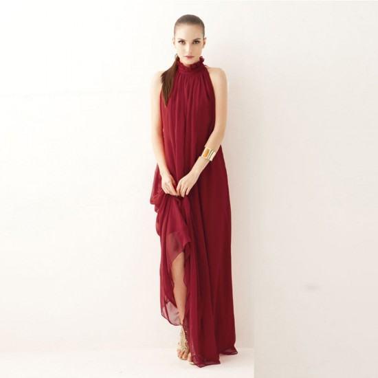 Bohemian Hanging Neck Sleeveless Cotton Long Dress-Maroon image