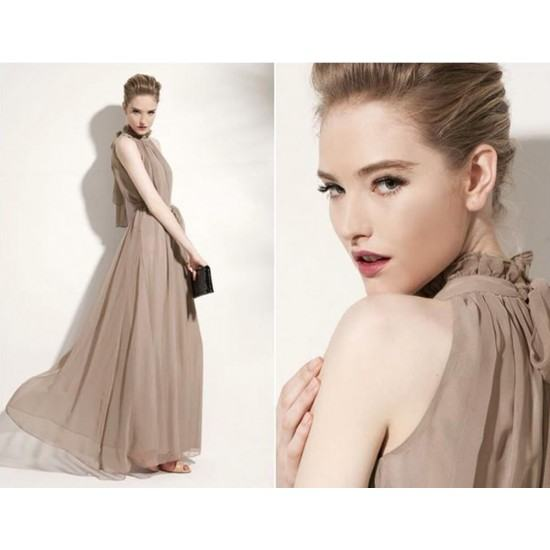 Bohemian Hanging Neck Sleeveless Cotton Long Dress-Grey image