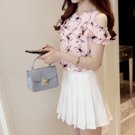 Latest Style Floral Printed Short Sleeves Round Neck Chiffon Dress-Pink image