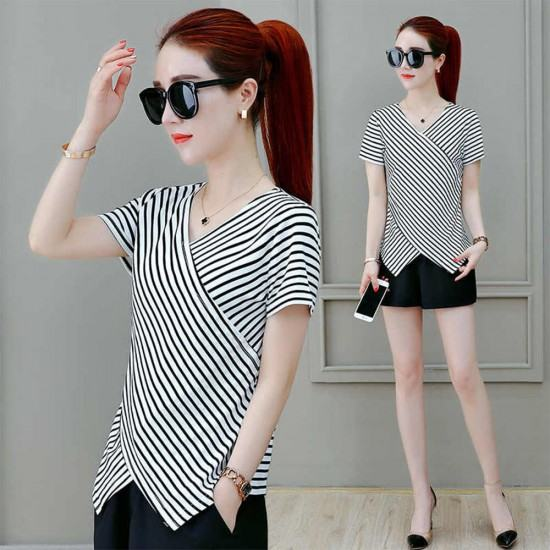 Summer Latest Fashion Strip Printed Short Sleeves Casual Shirt-White image