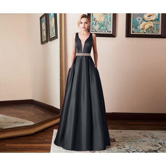 Burst Banquet Sleeveless Long Prom Dress-Black image