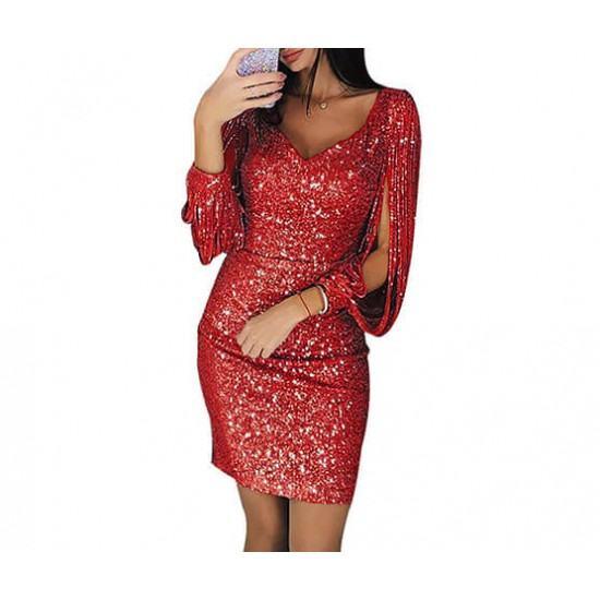 V-neck sparkling tassel long sleeves Slim Midi Dress-Red image