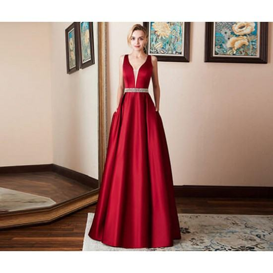 Burst Banquet Sleeveless Long Prom Dress-Red image