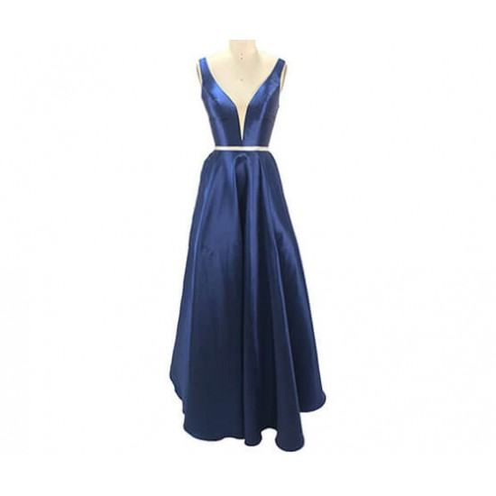 Burst Banquet Sleeveless Long Prom Dress-Blue image