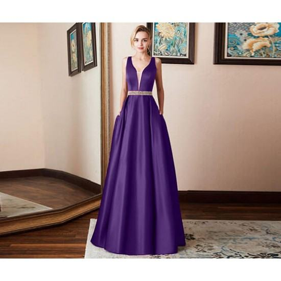 Burst Banquet Sleeveless Long Prom Dress-Purple image