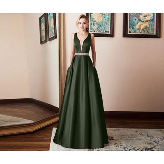 Burst Banquet Sleeveless Long Prom Dress-Green image