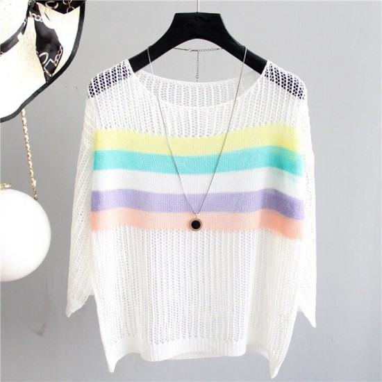 Round Neck Loose Waist Full Sleeves Stripped Printed Blouse-White image