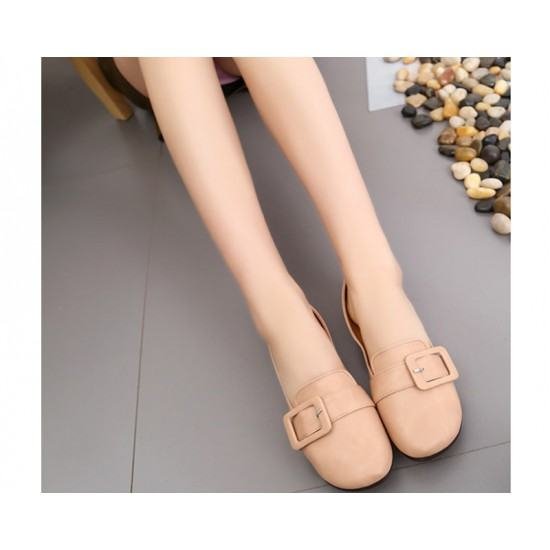 Women Leather Shallow Mouth Flat Shoes-Beige image