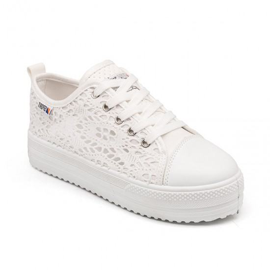 Summer Thick Bottom Canvas Hollow White Breathable Lace Shoes-White image