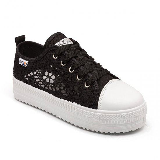 Summer Thick Bottom Canvas Hollow White Breathable Lace Shoes-Black image