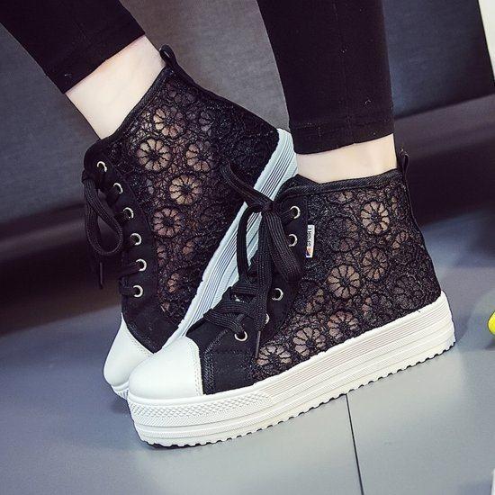 Summer Elegant Mesh Breathable Sneaker Shoes For Women-Black image