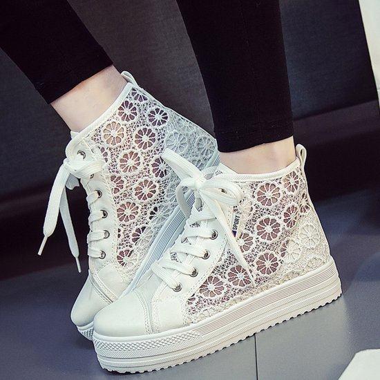Summer Elegant Mesh Breathable Sneaker Shoes For Women-White image
