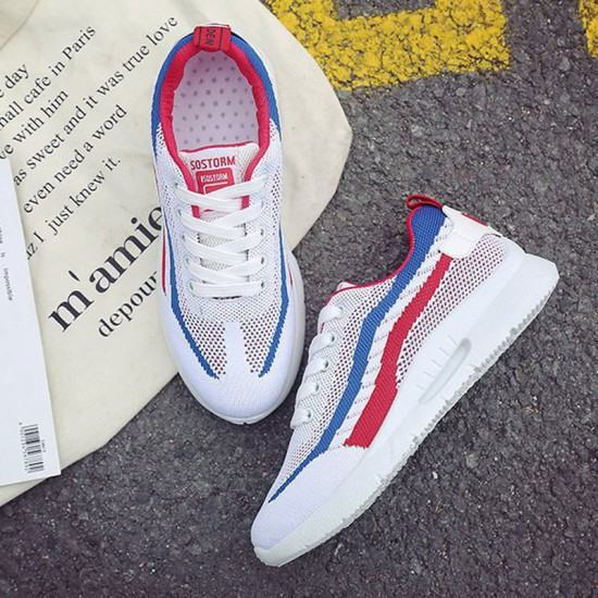 Elegant Sports Running Shoes With Blue Stripe for Women-White image