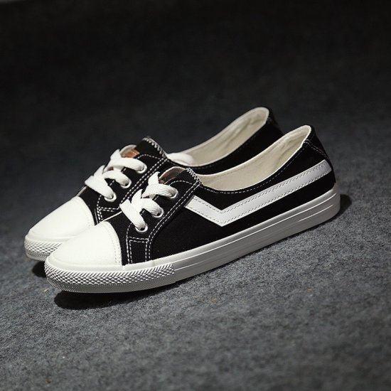 Korean Version Low Heel Canvas Shoes For Women-Black image