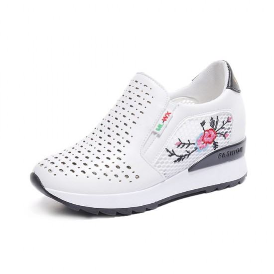 Floral Embroidered Slop Bottom Women Sports Shoes-Black image