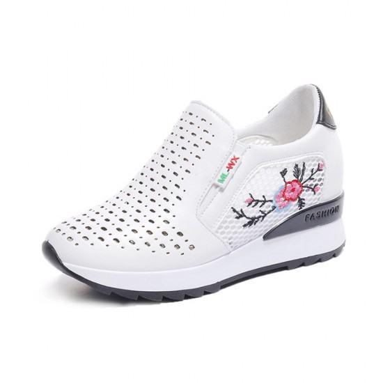 Floral Embroidered Slop Bottom Women Sports Shoes-Black image