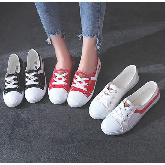Korean Version Low Heel Canvas Shoes For Women-Red image