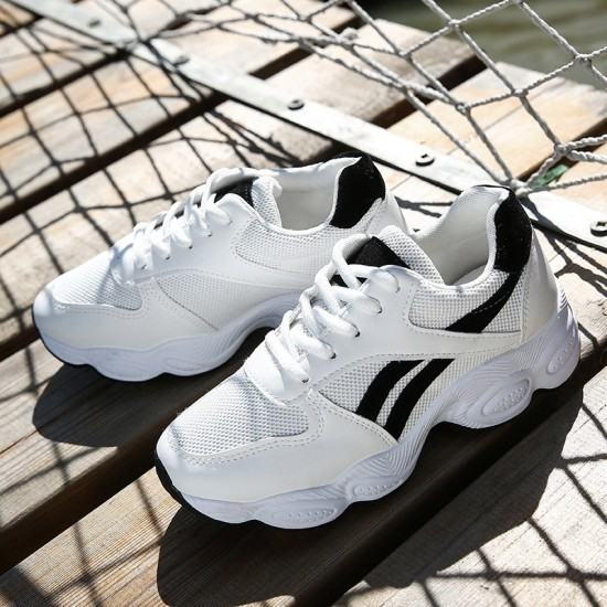 Sports Shoes Breathable Casual Fashion Sneakers-White with Black image