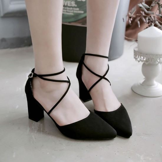 High Heeled American Style Pointed Suede Women Shoes-Black image