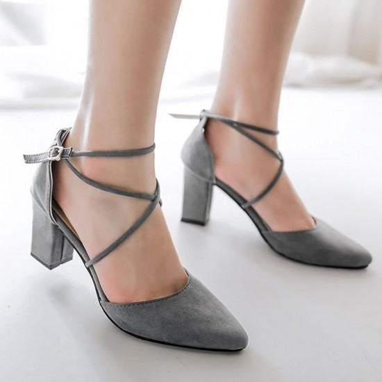High Heeled American Style Pointed Suede Women Shoes-Grey image
