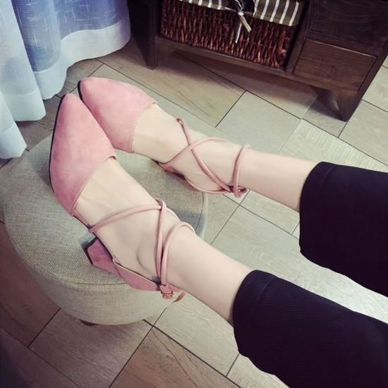 High Heeled American Style Pointed Suede Women Shoes-Pink image