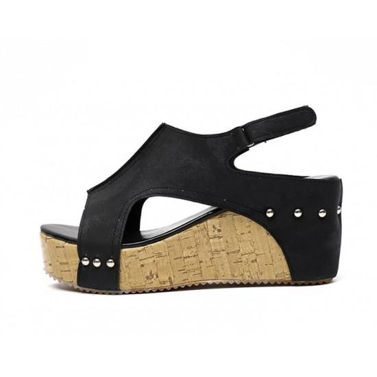 Suede Leather High Bottoms Sandals For Women-Black image