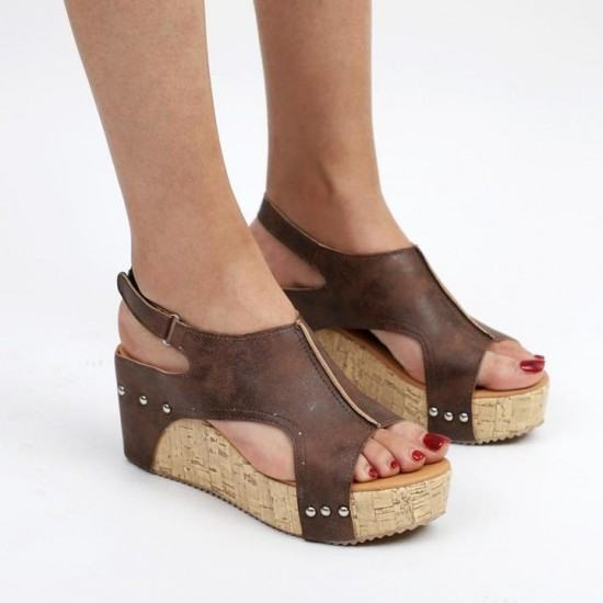 Suede Leather High Bottoms Sandals For Women-Brown image