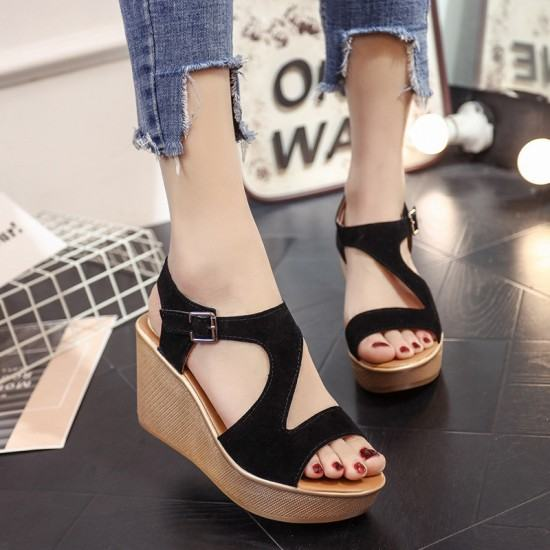 Open Toe Fish Mouth High Wedge Sandals-Black image