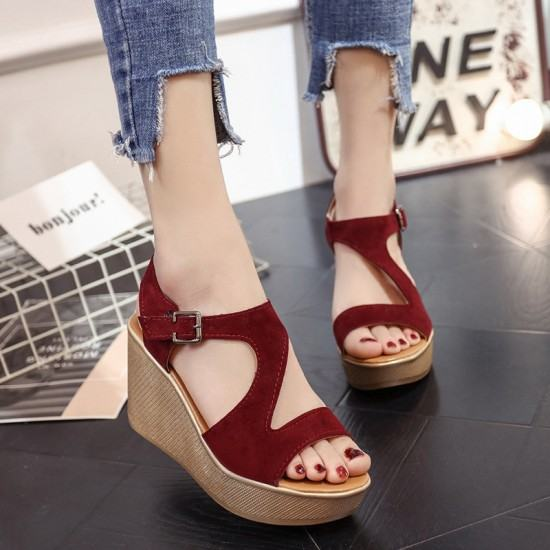 Open Toe Fish Mouth High Wedge Sandals-Red image