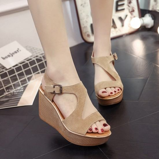 Open Toe Fish Mouth High Wedge Sandals-Brown image