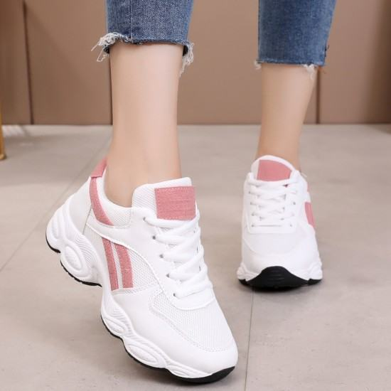 Sports Shoes Breathable Casual Fashion Sneakers-White with Pink image