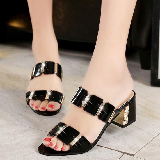 Elegant Stylish Comfortable High Heel Shining Slippers-Black image