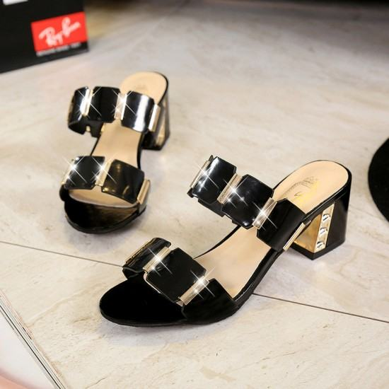 Elegant Stylish Comfortable High Heel Shining Slippers-Black image