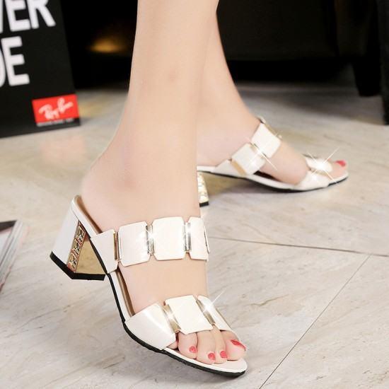 Elegant Stylish Comfortable High Heel Shining Slippers-White image